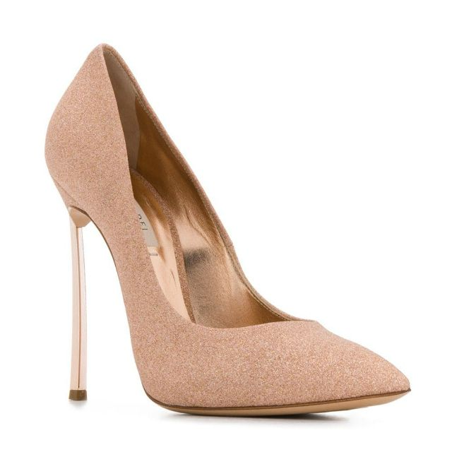 Sparkly rose gold pointed toe pumps