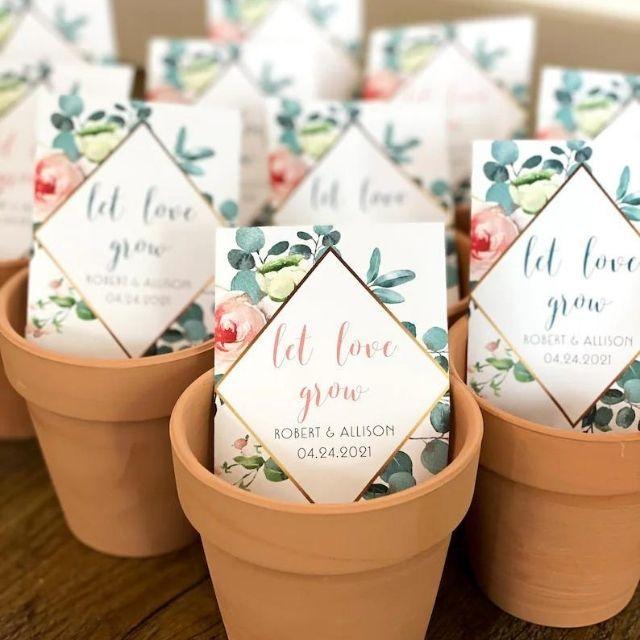 "PlainJane2424 ""Let Love Grow"" Custom Seed Wedding Favors"