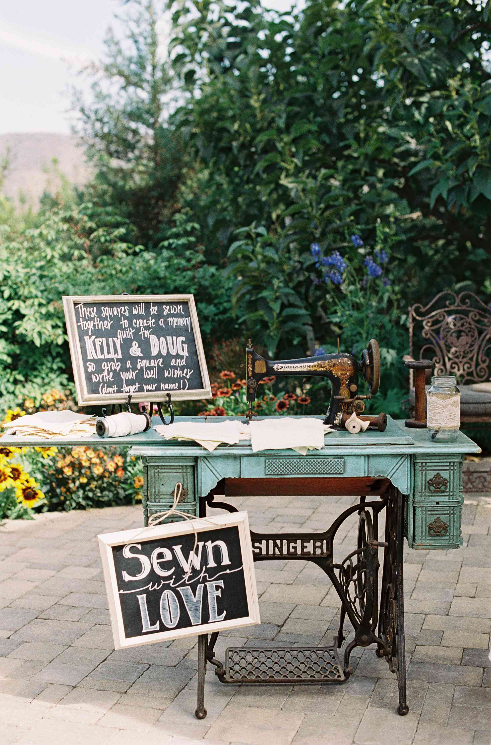 Sewing machine set up as wedding guest book