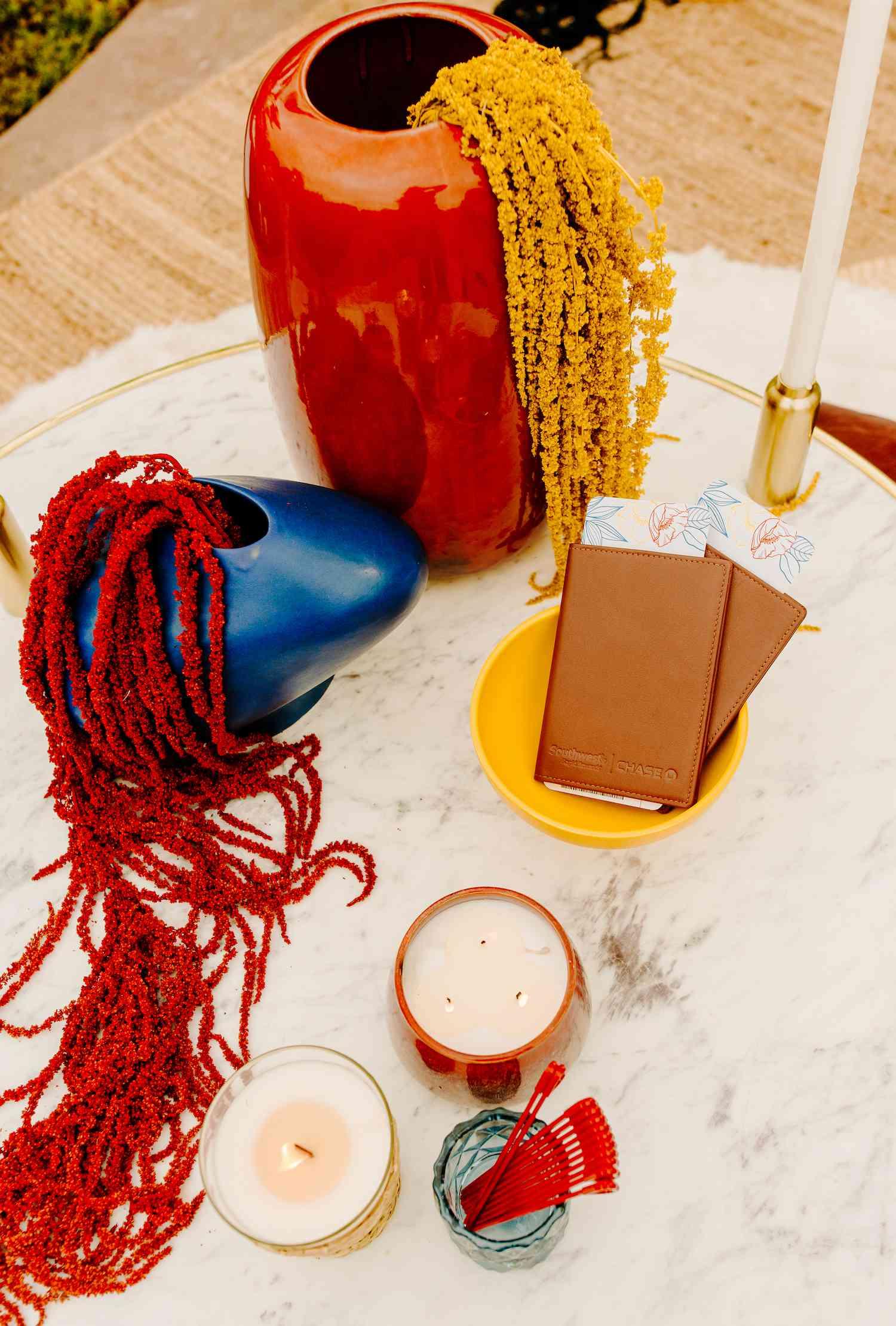 Backyard honeymoon set up, featuring Chase Southwest Rapid Rewards Credit Card® vouchers
