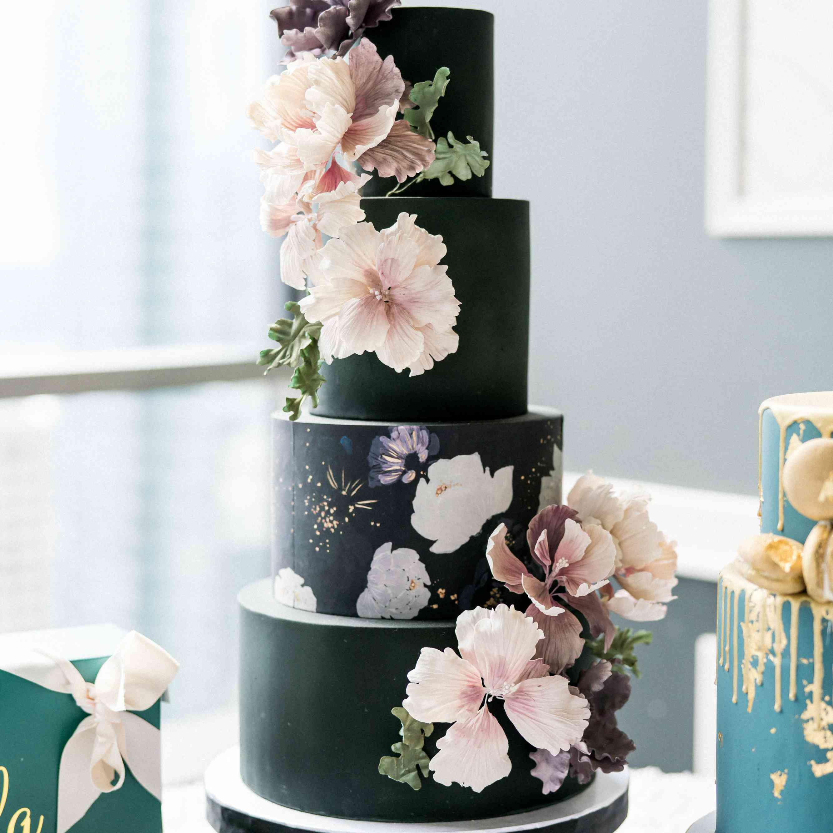 Red And Black Wedding Cakes Ideas: 85 Of The Prettiest Floral Wedding Cakes