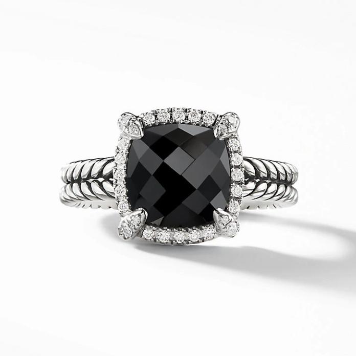 Châtelaine Pavé Bezel Ring with Black Onyx
