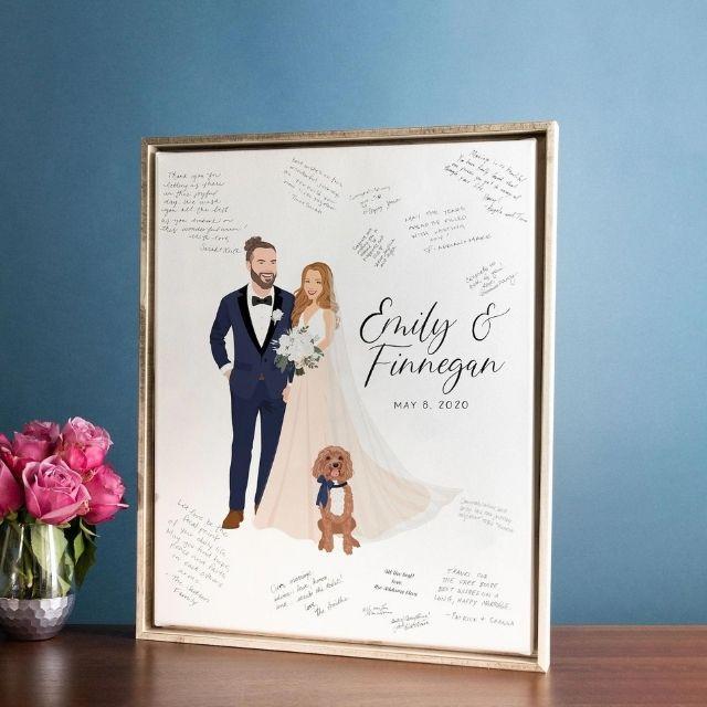MissDesignBerryInc Couples Wedding Portrait Sign-in Canvas