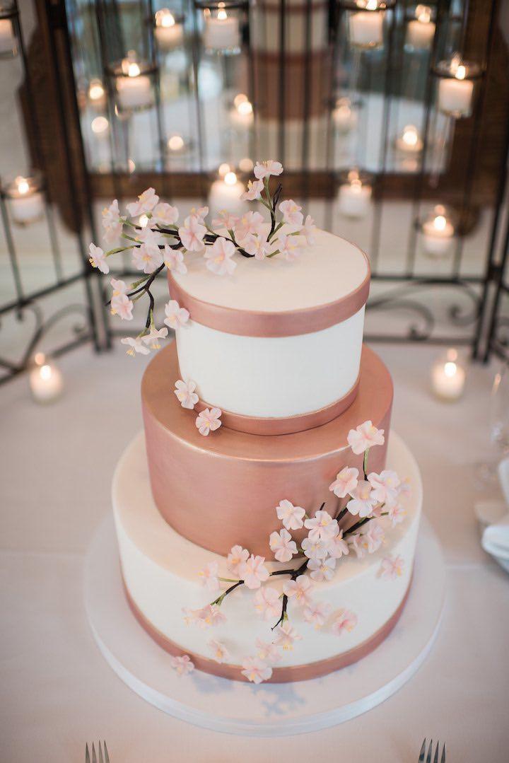 rose gold cherry blossom cake