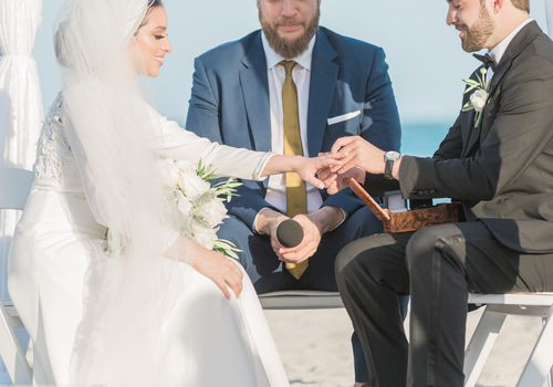 <p>Bride and groom exchanging rings</p>