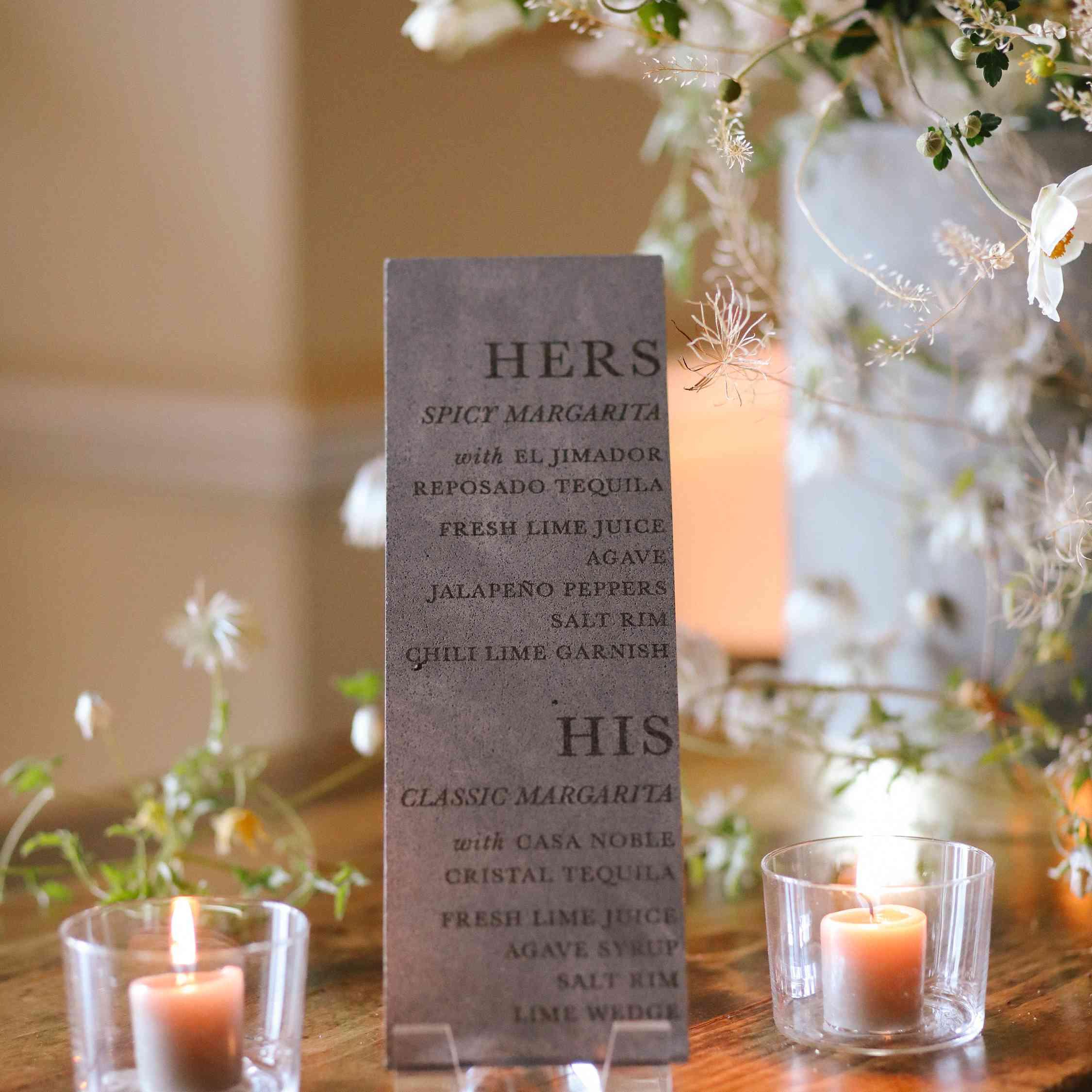 savannah and riker wedding, cocktail sign