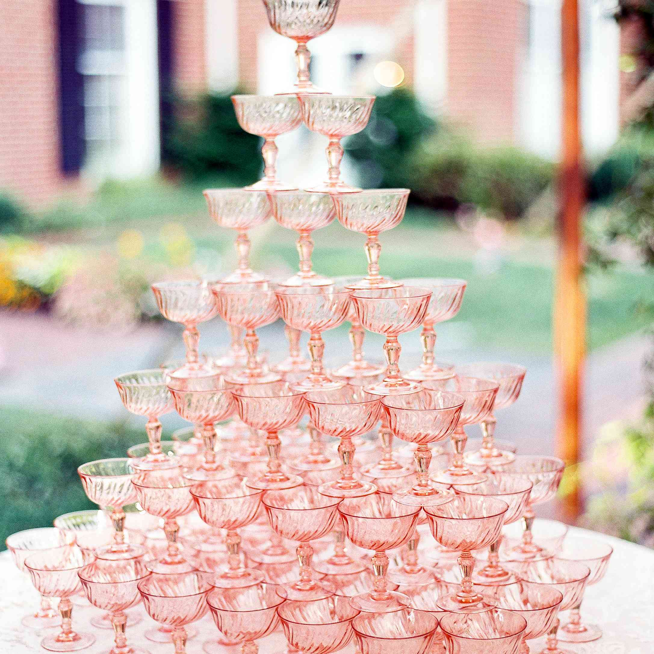 <p>rose gold champagne tower</p>