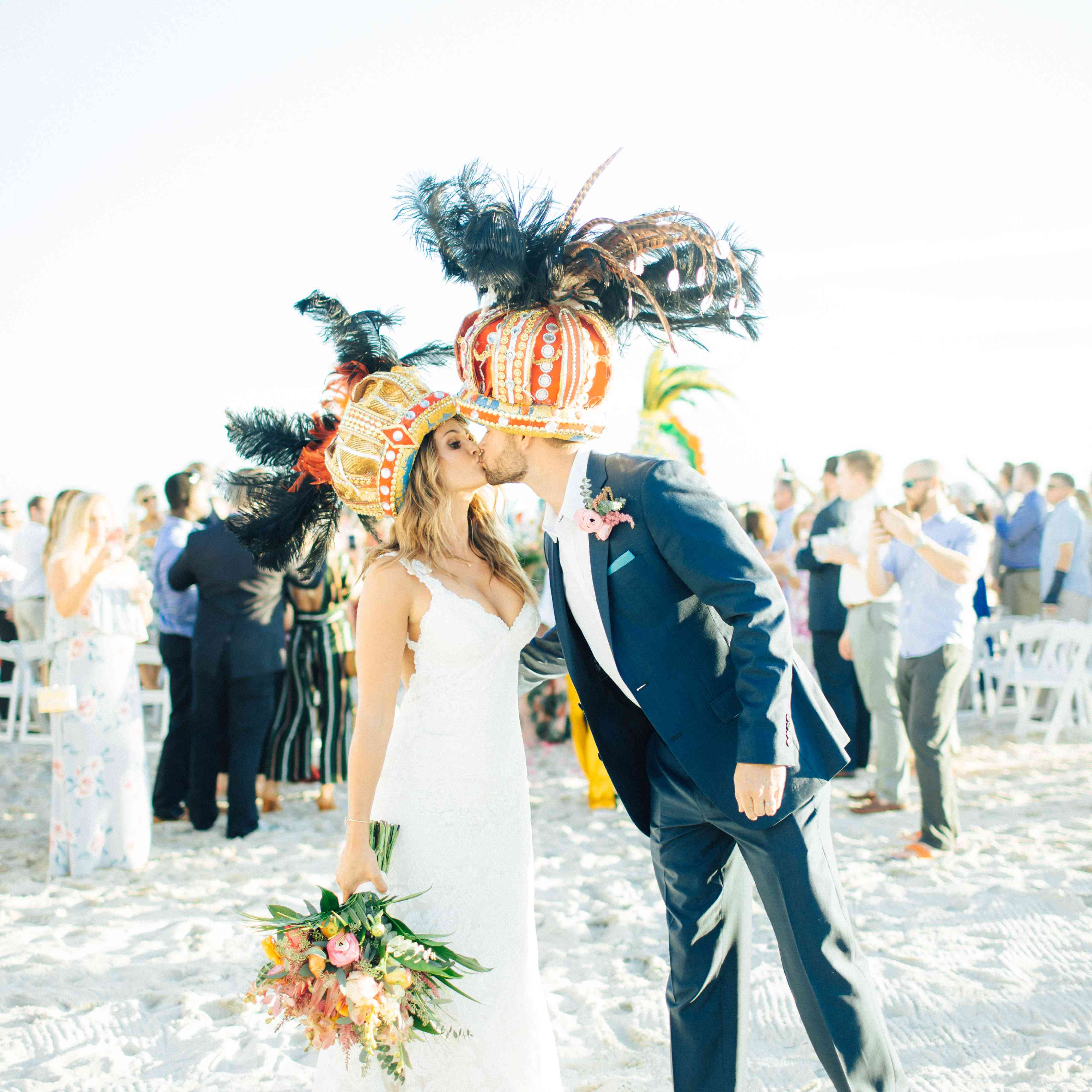 Bride and groom in hats