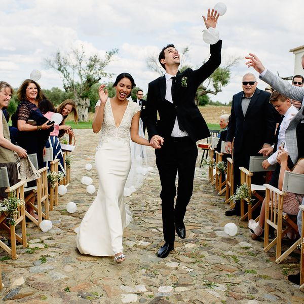 <p>Bride and groom recessional</p>
