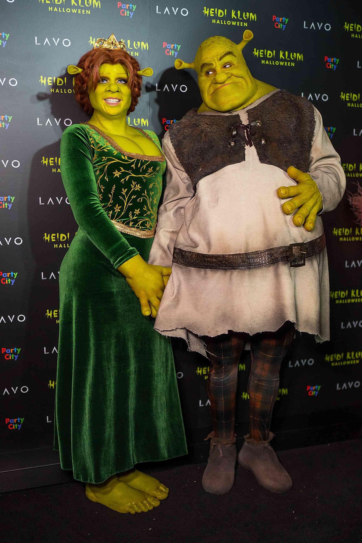 Heidi Klum and Tom Kaulitz dressed up as Fiona and Shrek