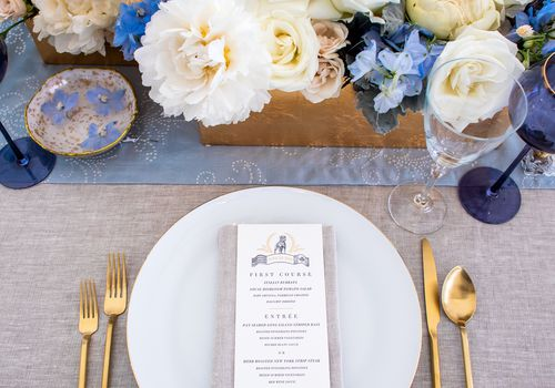 centerpiece with blue flowers