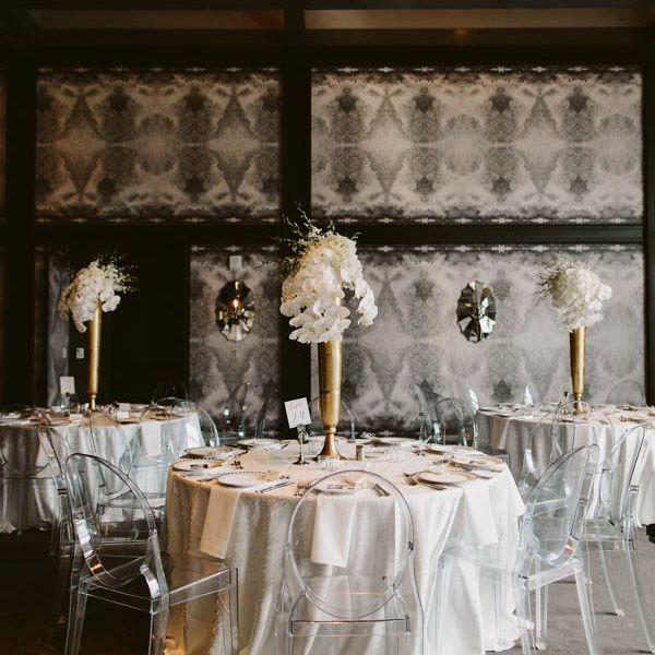 Wedding reception setup with acrylic chairs
