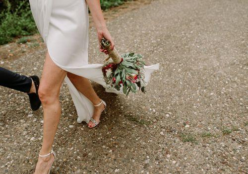 wedding dress outside