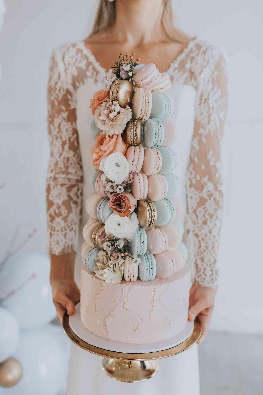 Macaron wedding cake with gold