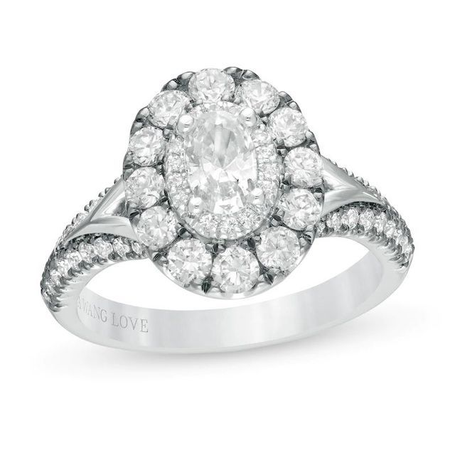 Vera Wang Oval Diamond Frame Engagement Ring in 14K White Gold with Black Rhodium
