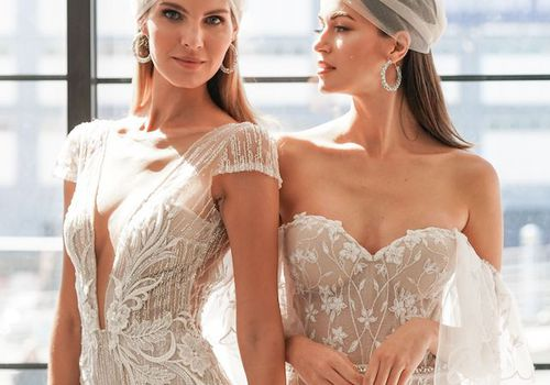 Models in plunging and off-the-shoulder wedding dresses
