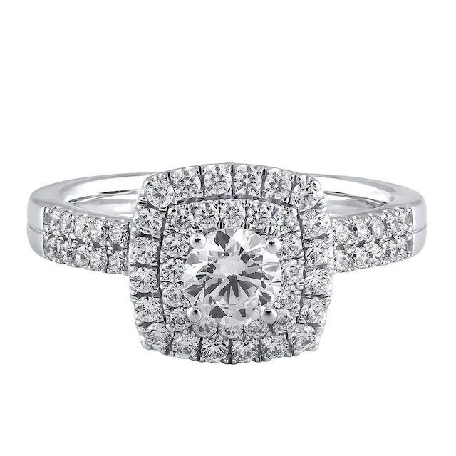 Helzberg Diamonds Light Heart Lab Grown Diamond Cushion Halo Engagement Ring in 14k White Gold