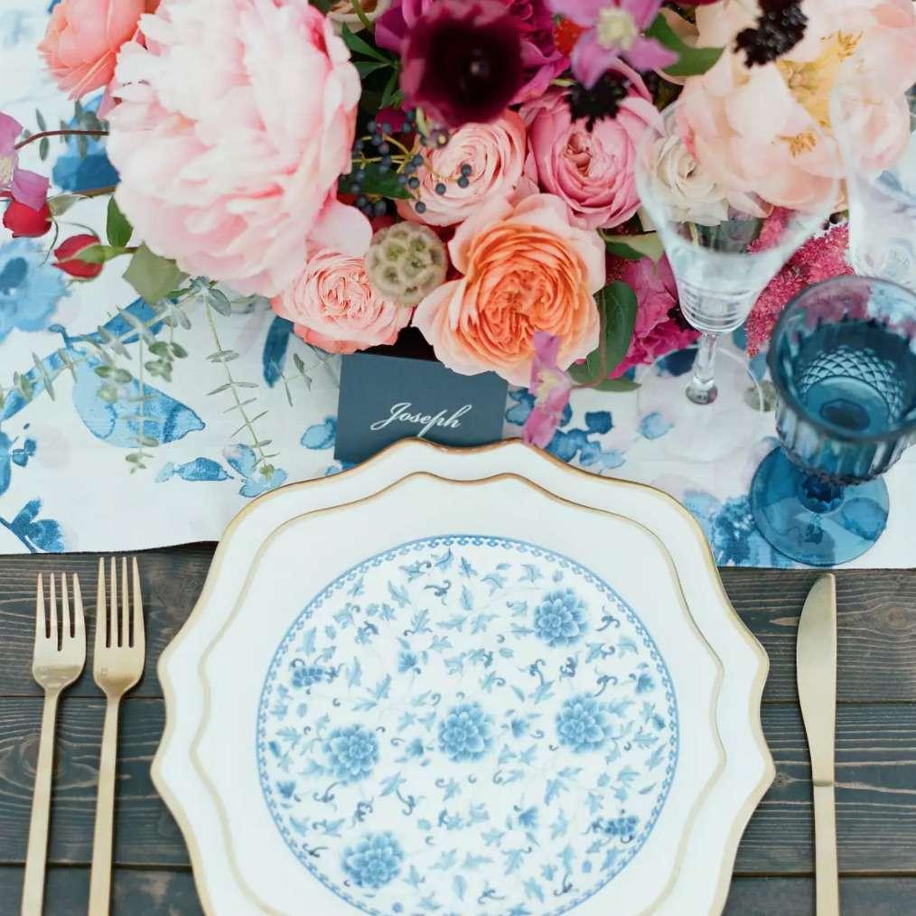 Floral print tablescape