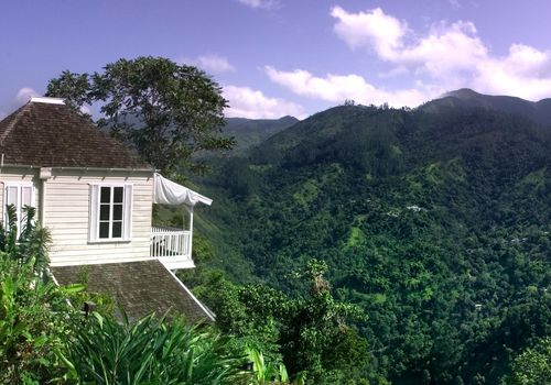 A view of Strawberry Hill resort in the mountains of Jamaica