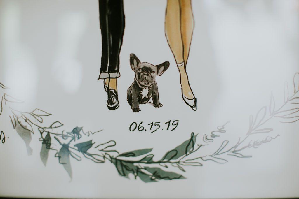 Favor bag detail of puppy illustration