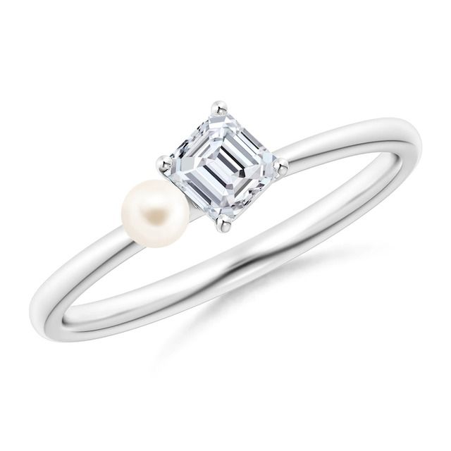 Angara Freshwater Pearl and Tilted Emerald-Cut Diamond Engagement Ring