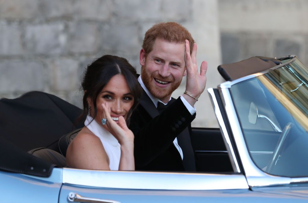 Meghan Markle and Prince Harry wedding day waving