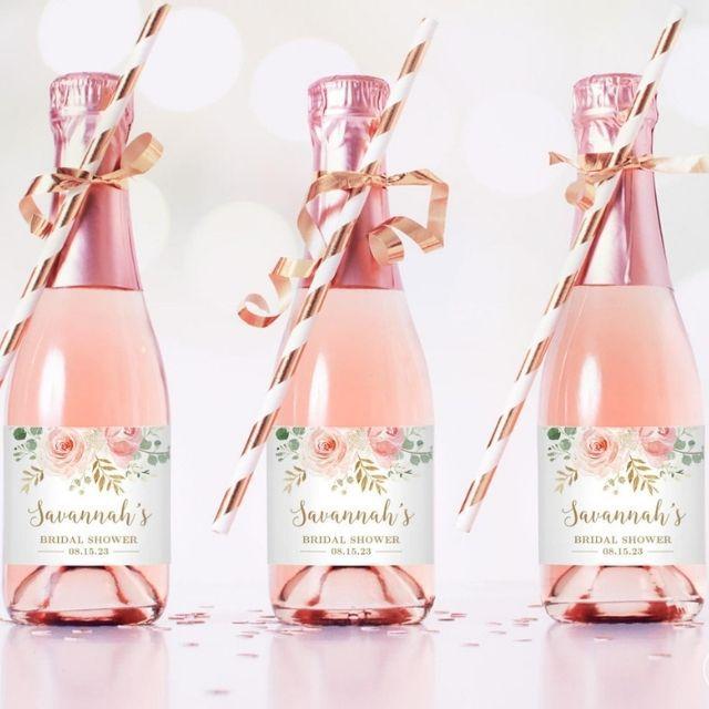 Vine Wedding Mini Bridal Shower Champagne Bottle Labels