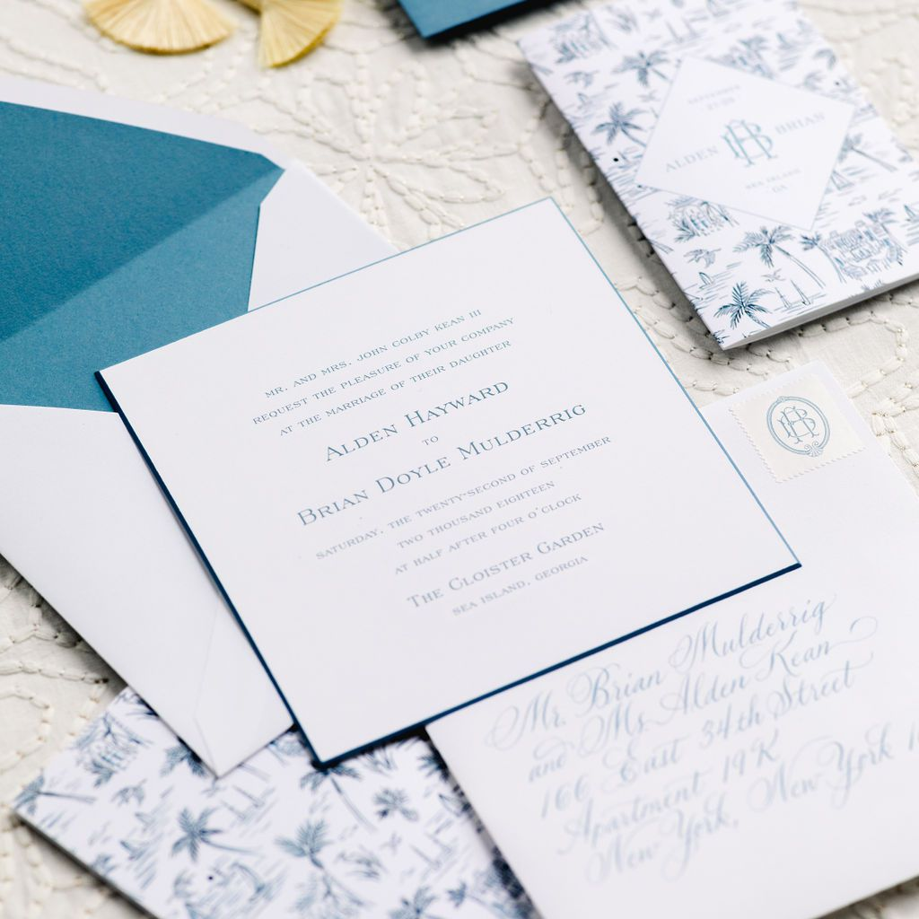 timeless southern wedding, blue and white invitation suite