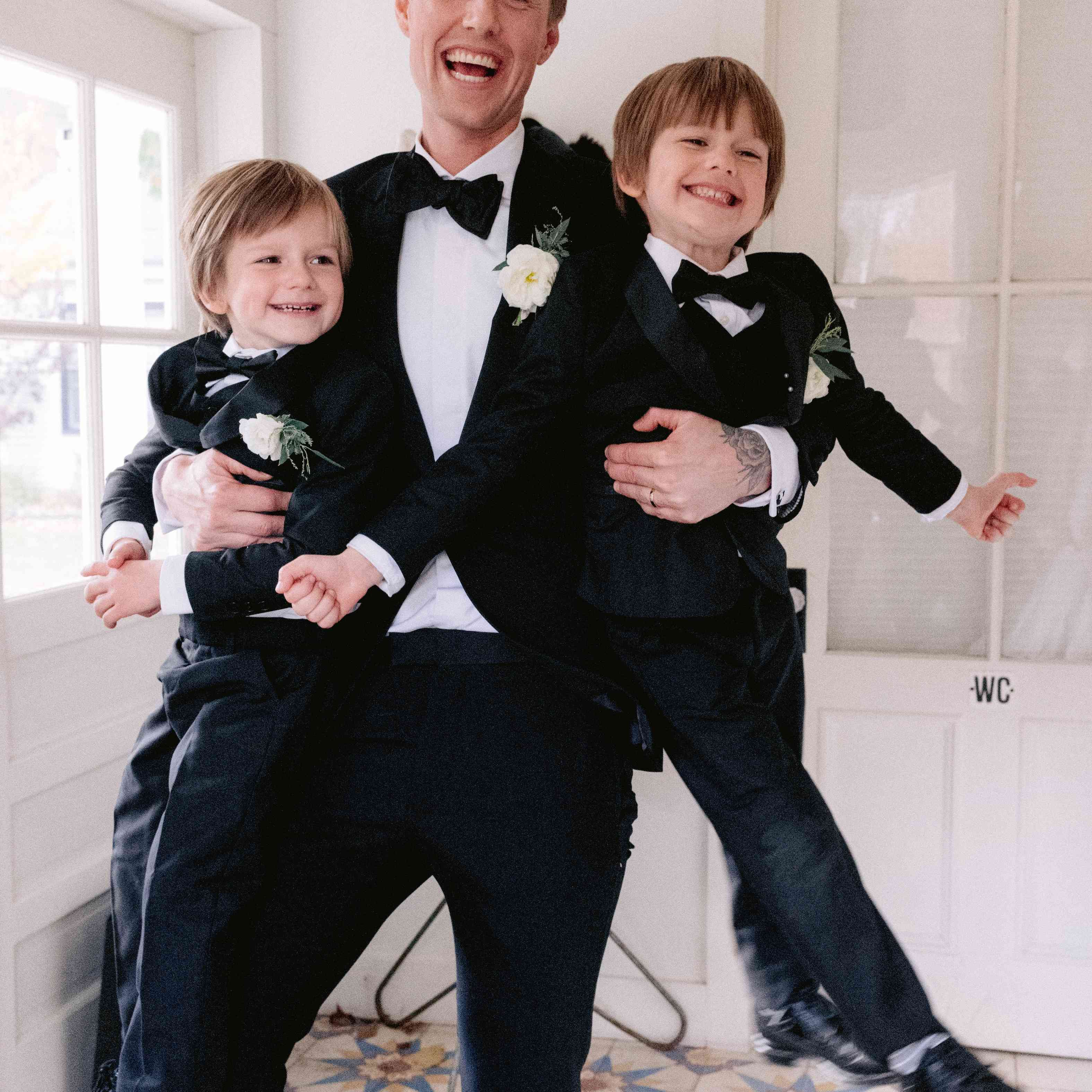Groom and kids