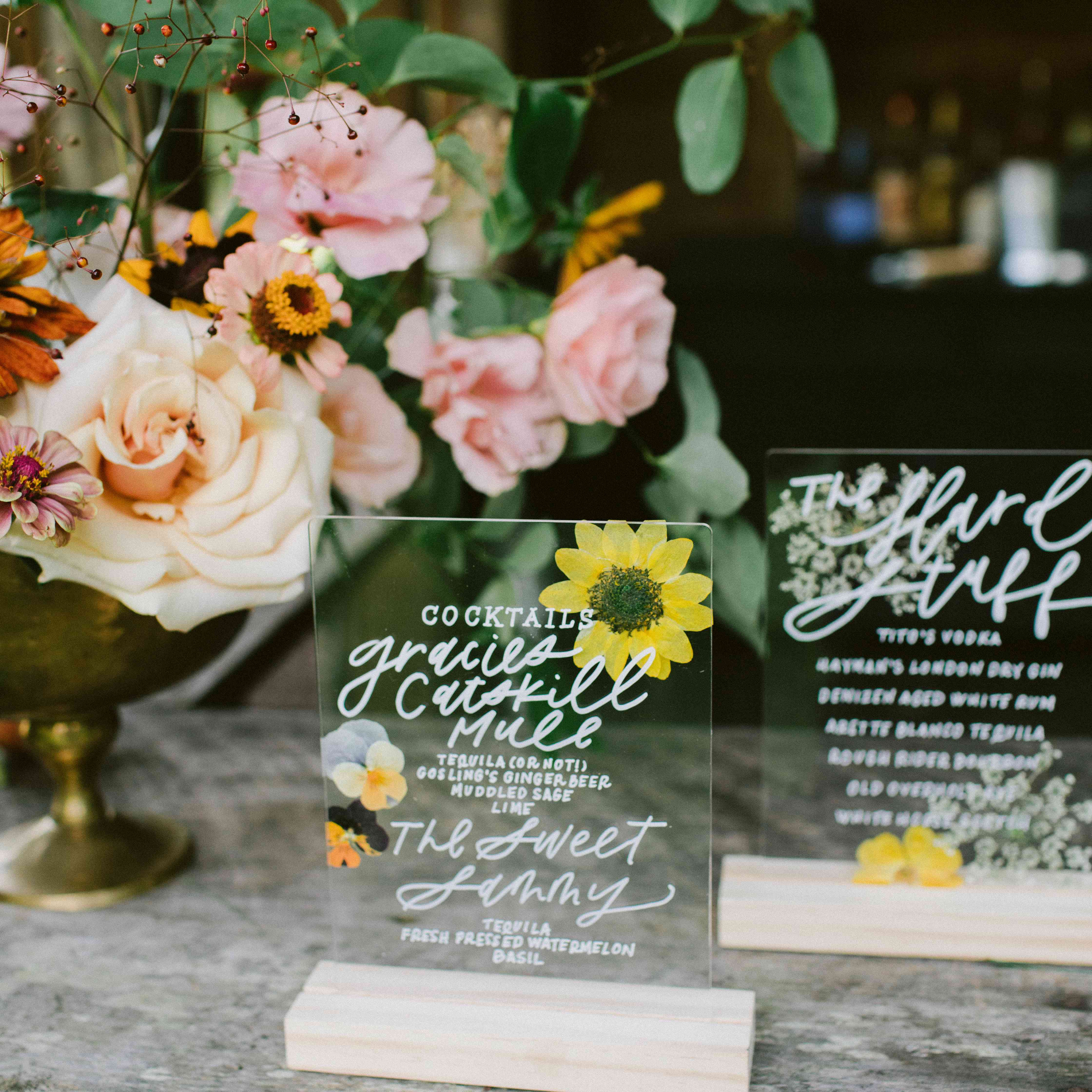 pressed flower signs and menus