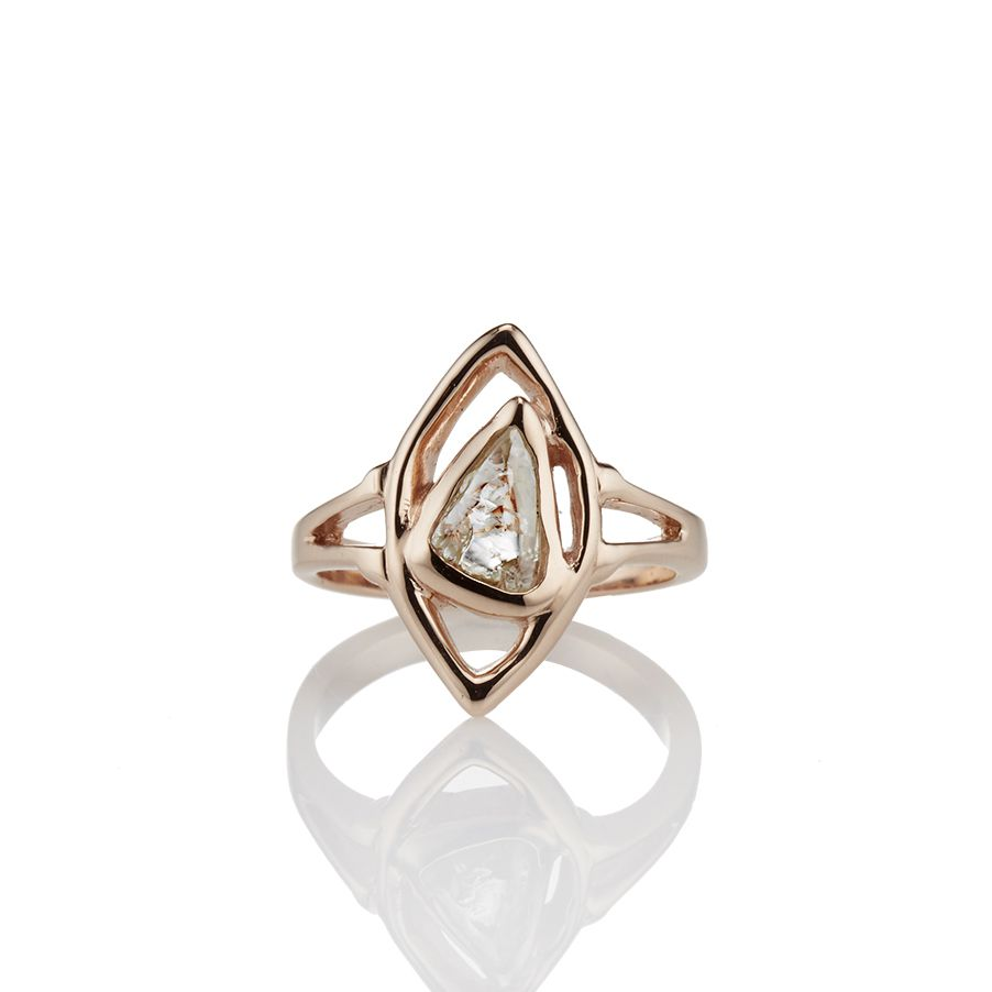 Rose gold modern art engagement ring
