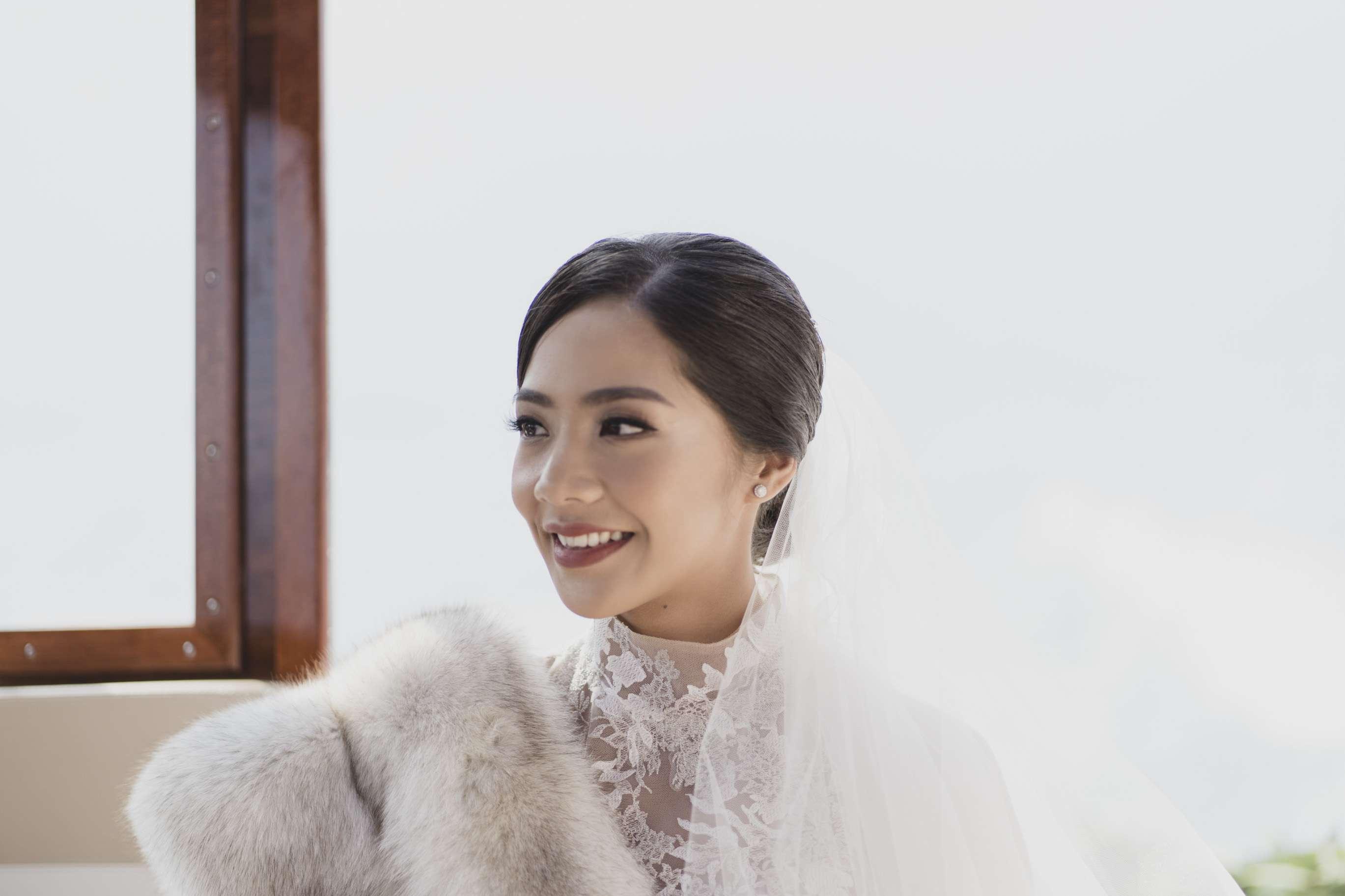Bride with mauve lip