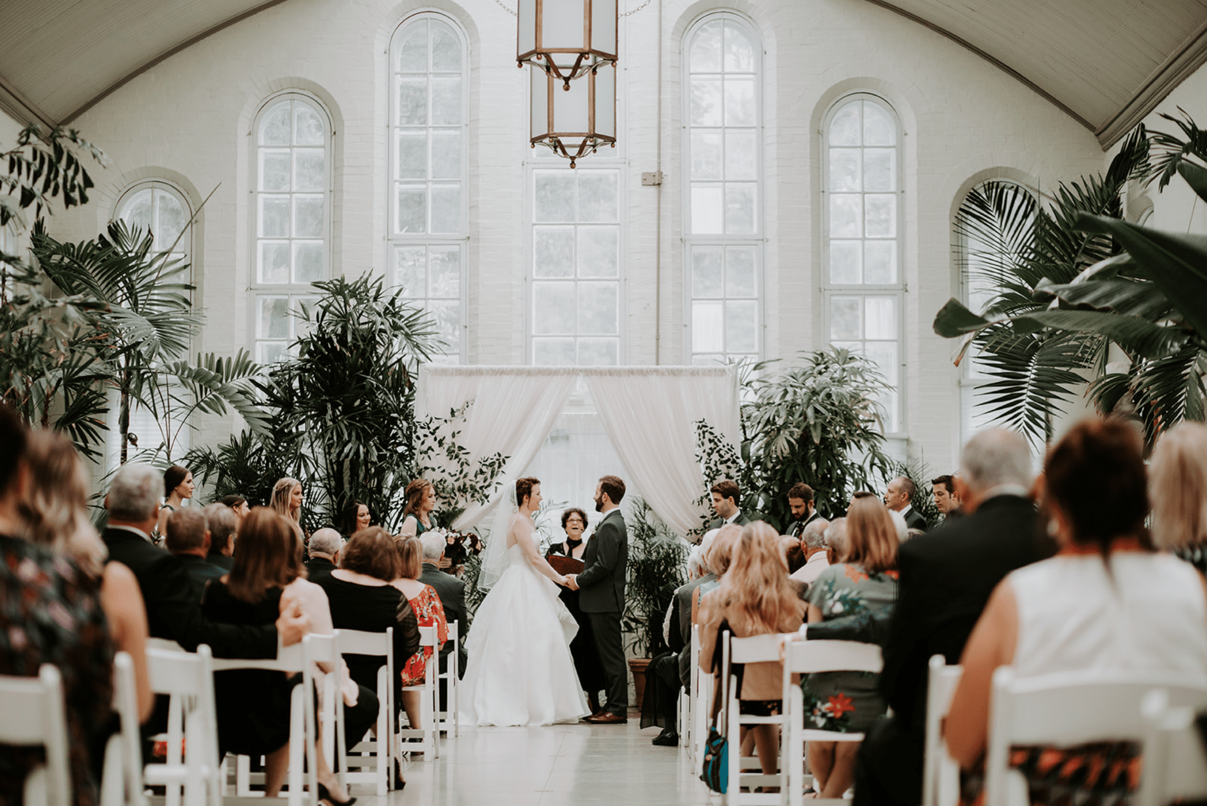 Wedding ceremony at Piper Palm House in Missouri