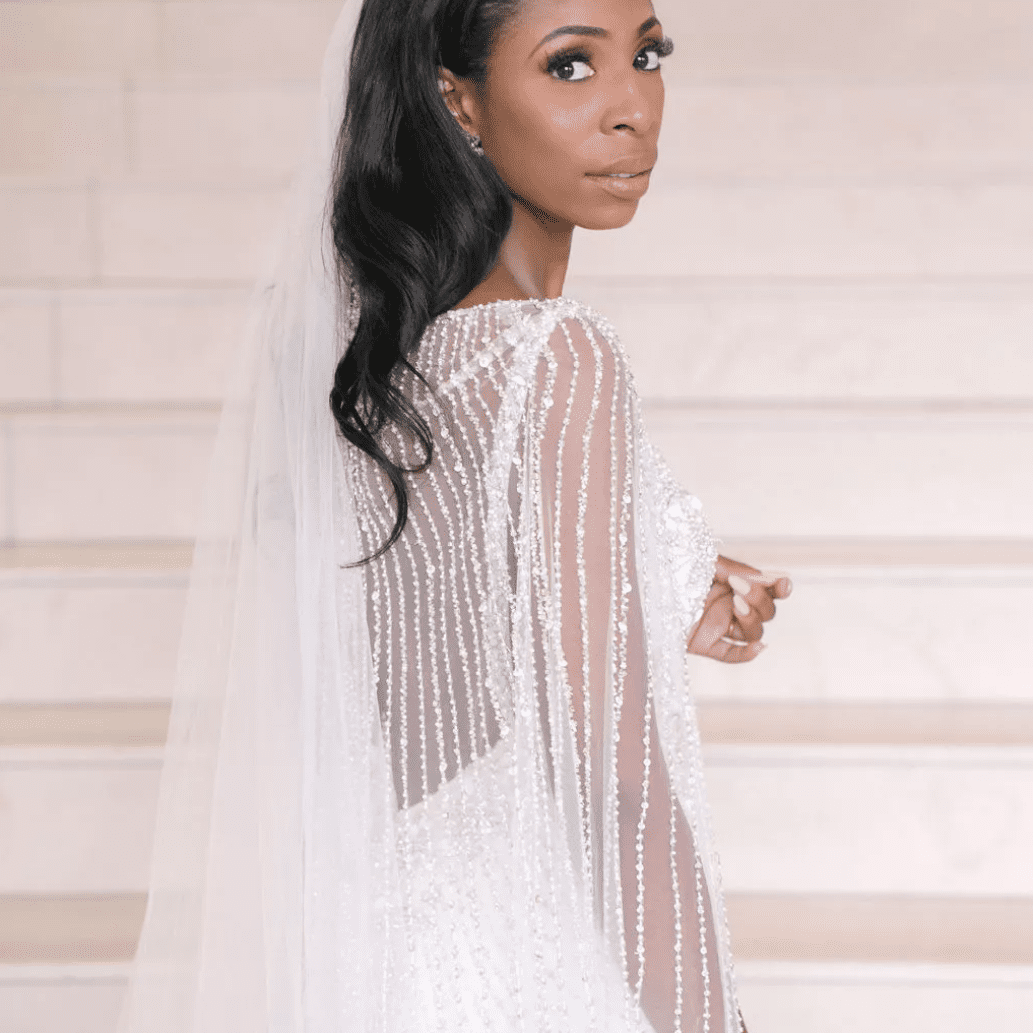 Bridal portrait with beaded cape