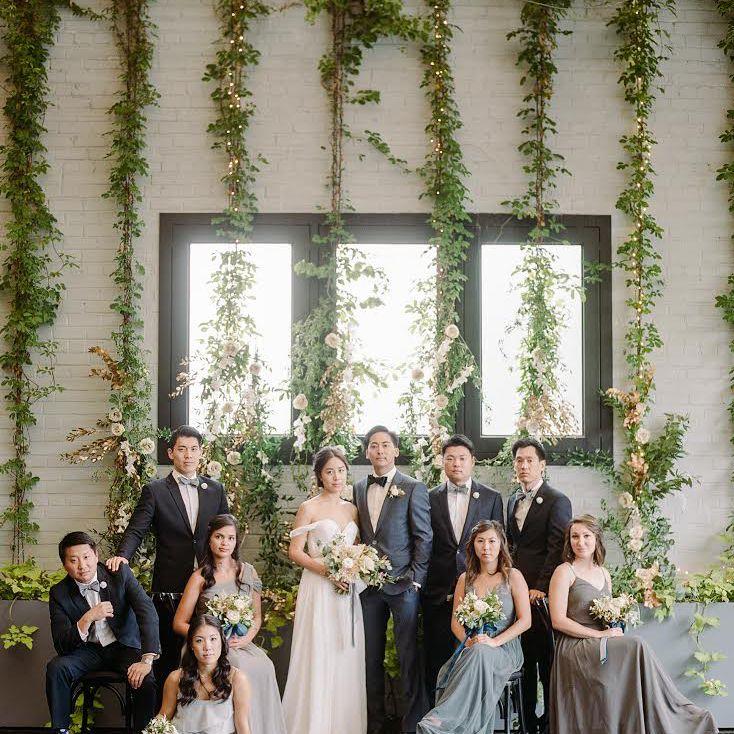 Ivy vines in wedding portrait