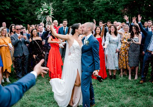 bride and groom confetti toss