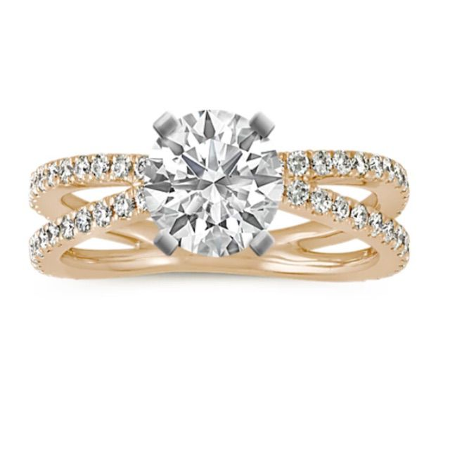 Shane Co. Pave-Set Diamond Split Shank Engagement Ring in 14k Yellow Gold