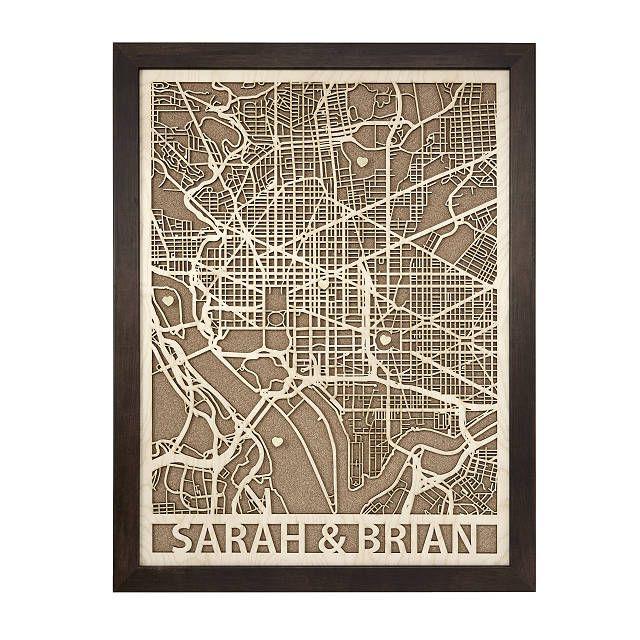 Personalized Woodcut City Map