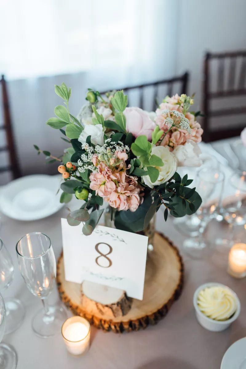 Tree slabs used for table numbers
