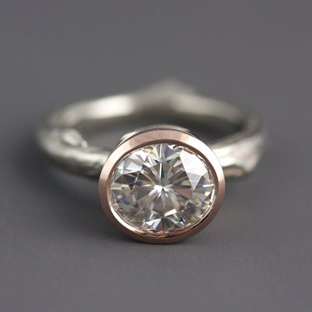 Sarah Hood Jewelry Recycled 14k Rose and White Gold Twig Ring