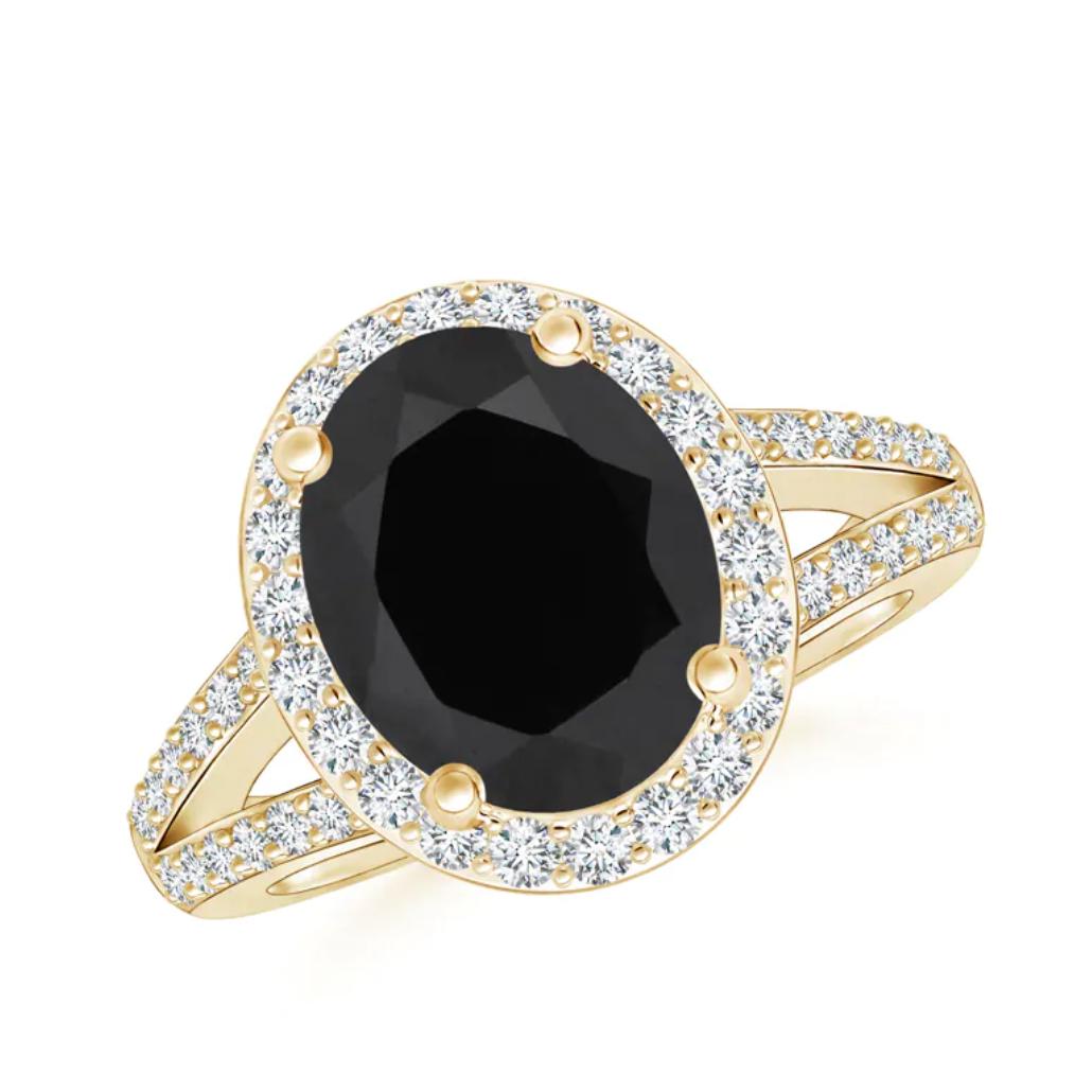 Oval Black Onyx Split Shank Halo Ring