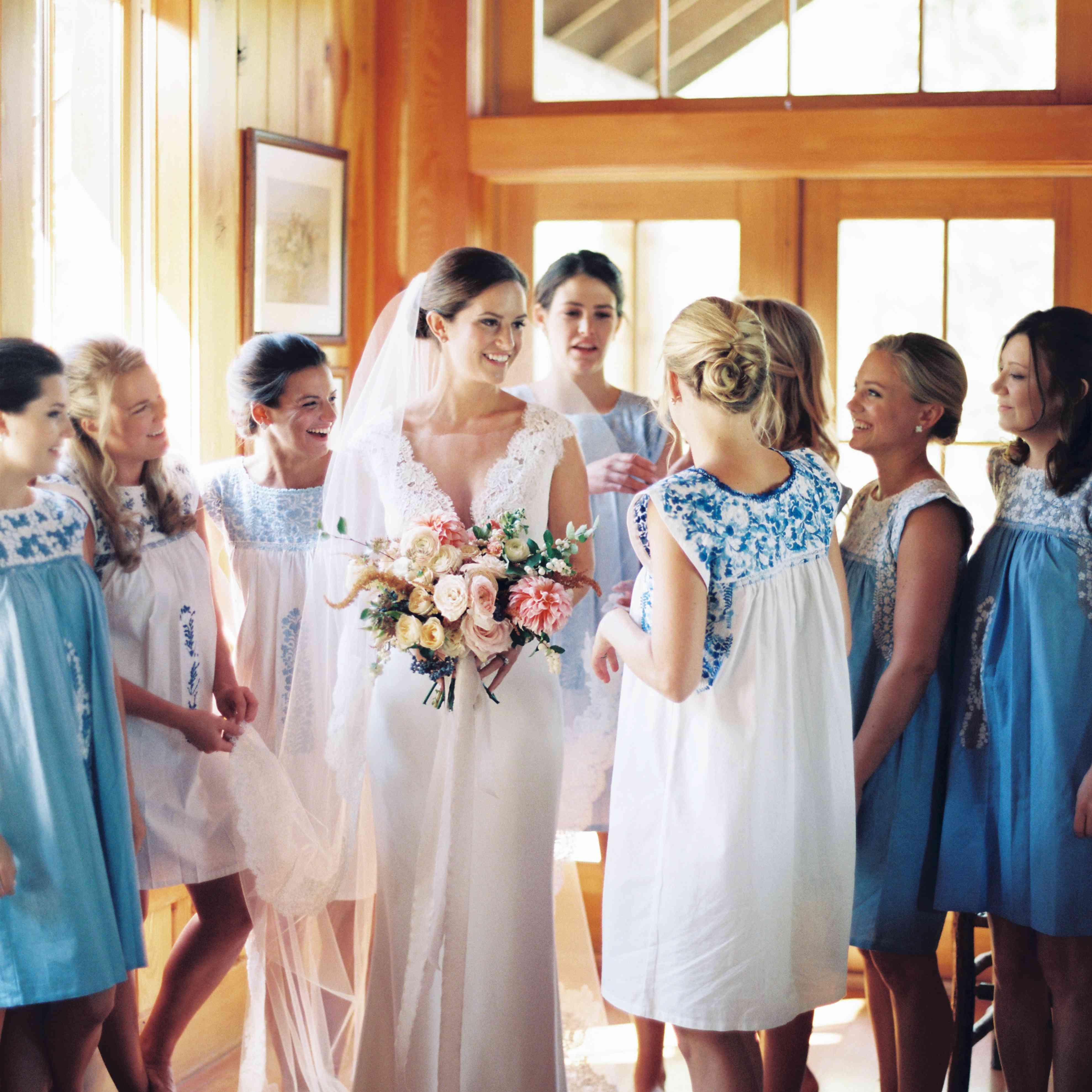 bridesmaids bridal suite matching dresses