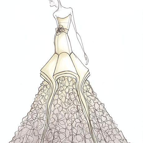 Drew Barrymore S Wedding Dress Designer Sketches