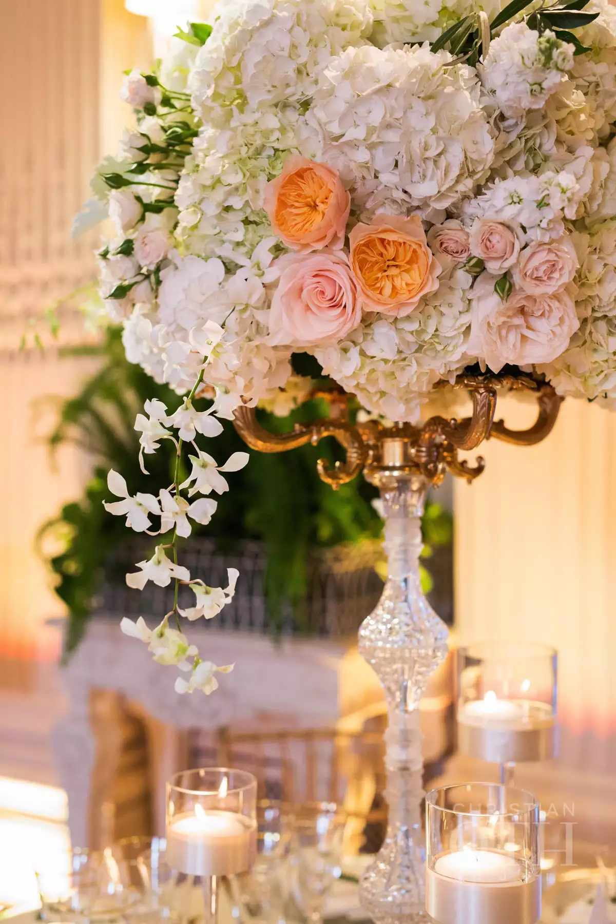 tall rose and hydrangea centerpiece