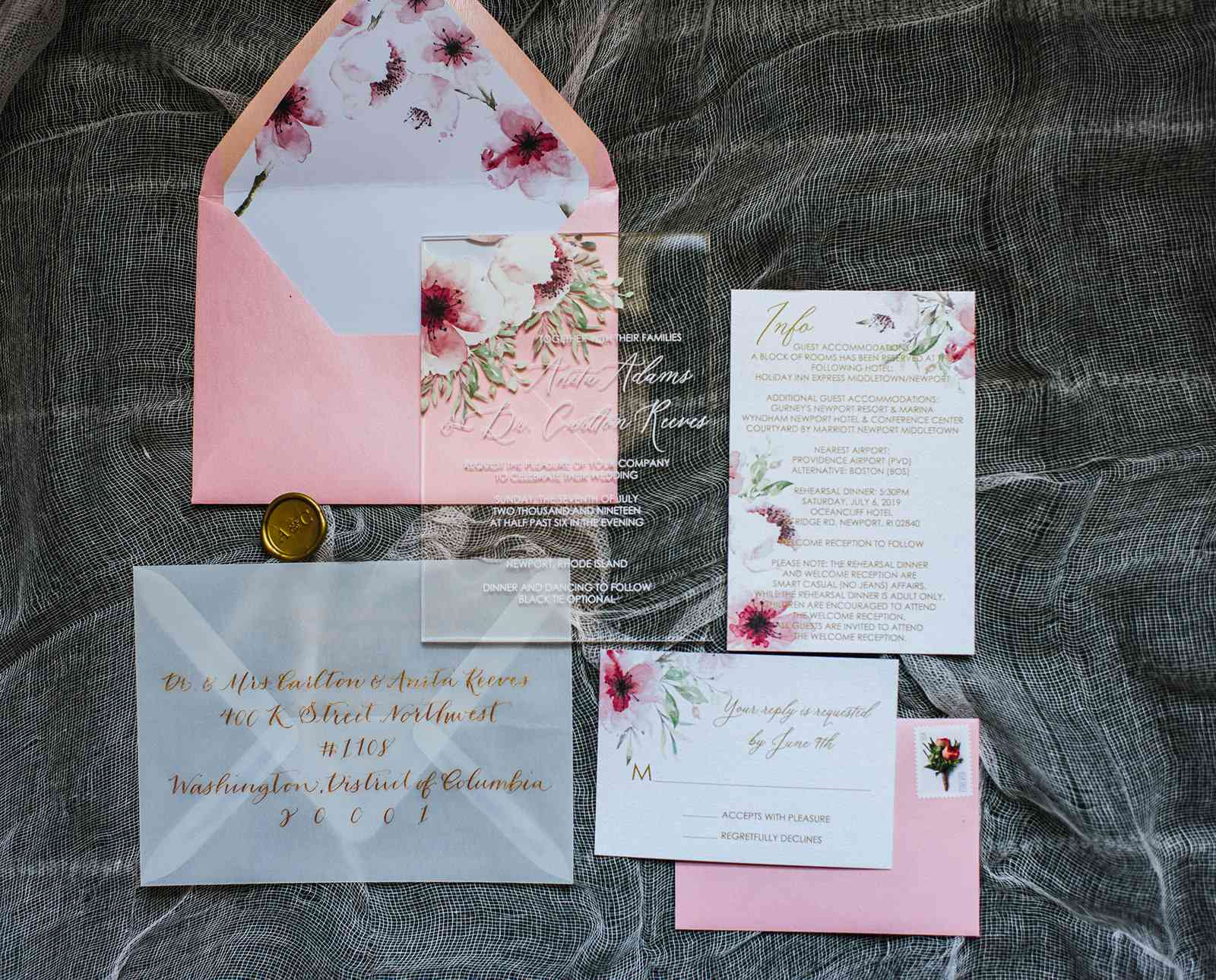 pink acrylic invitation