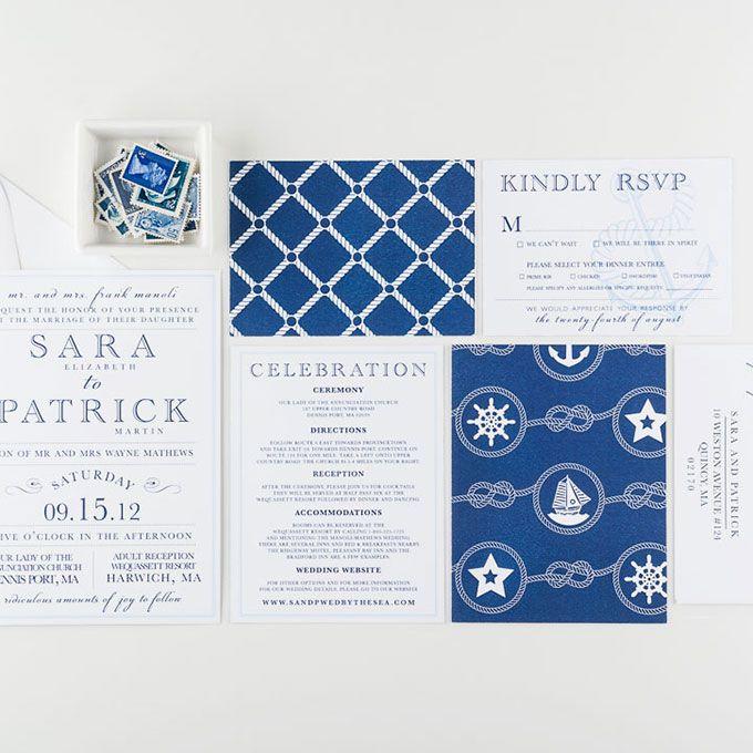 Blue and white nautical invitation suite