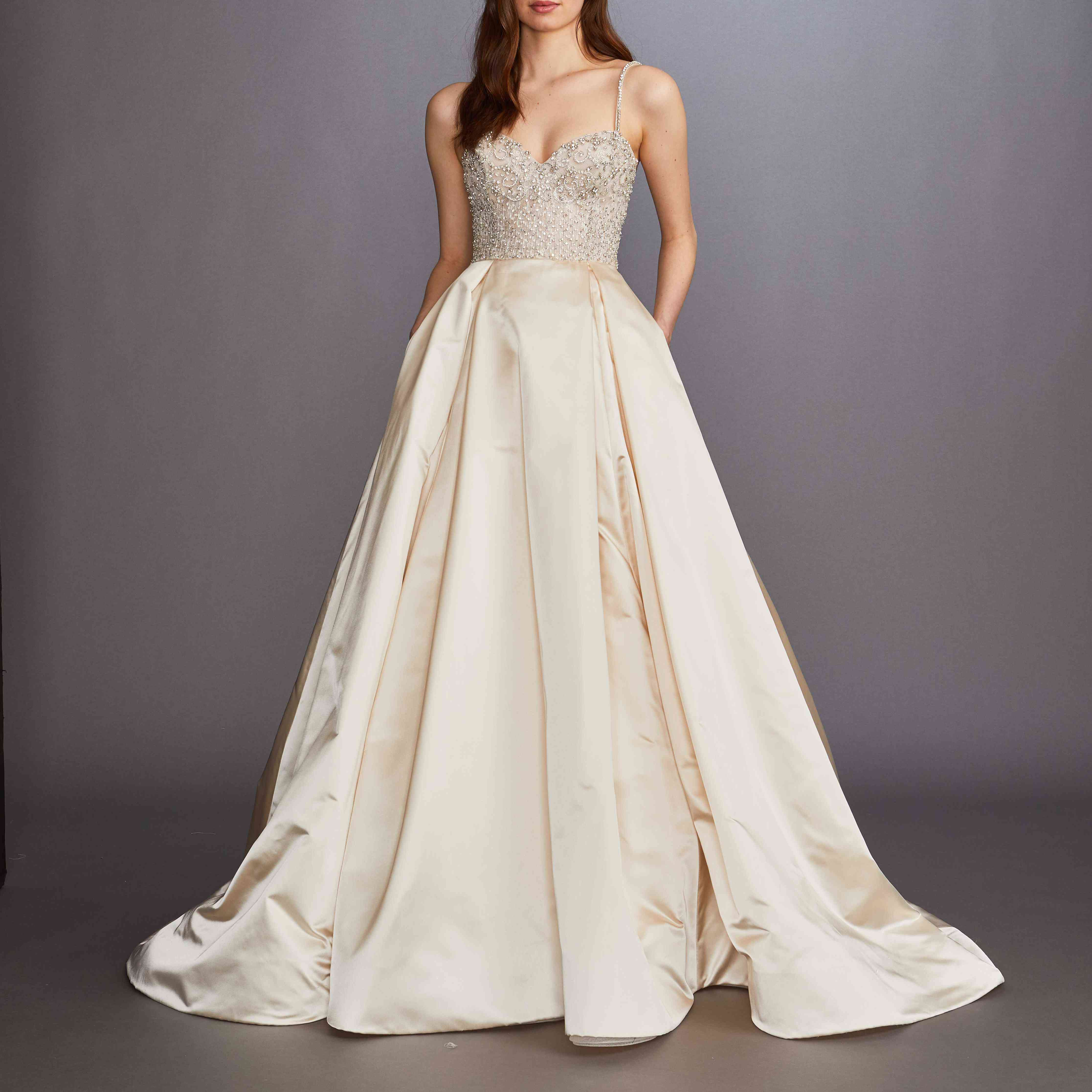 Olena blush wedding ball gown by Lazaro