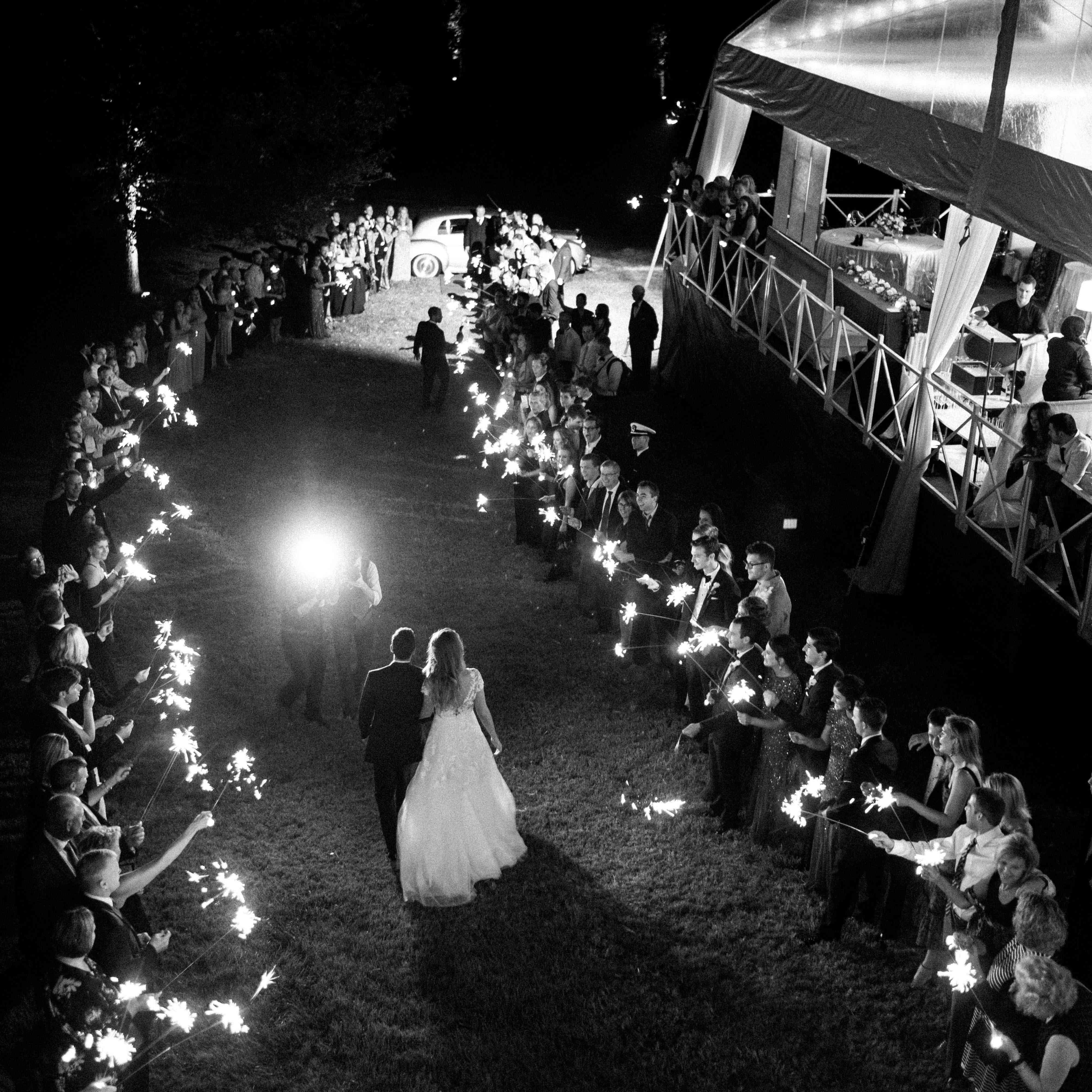 <p>Bride and groom reception sparklers</p><br><br>