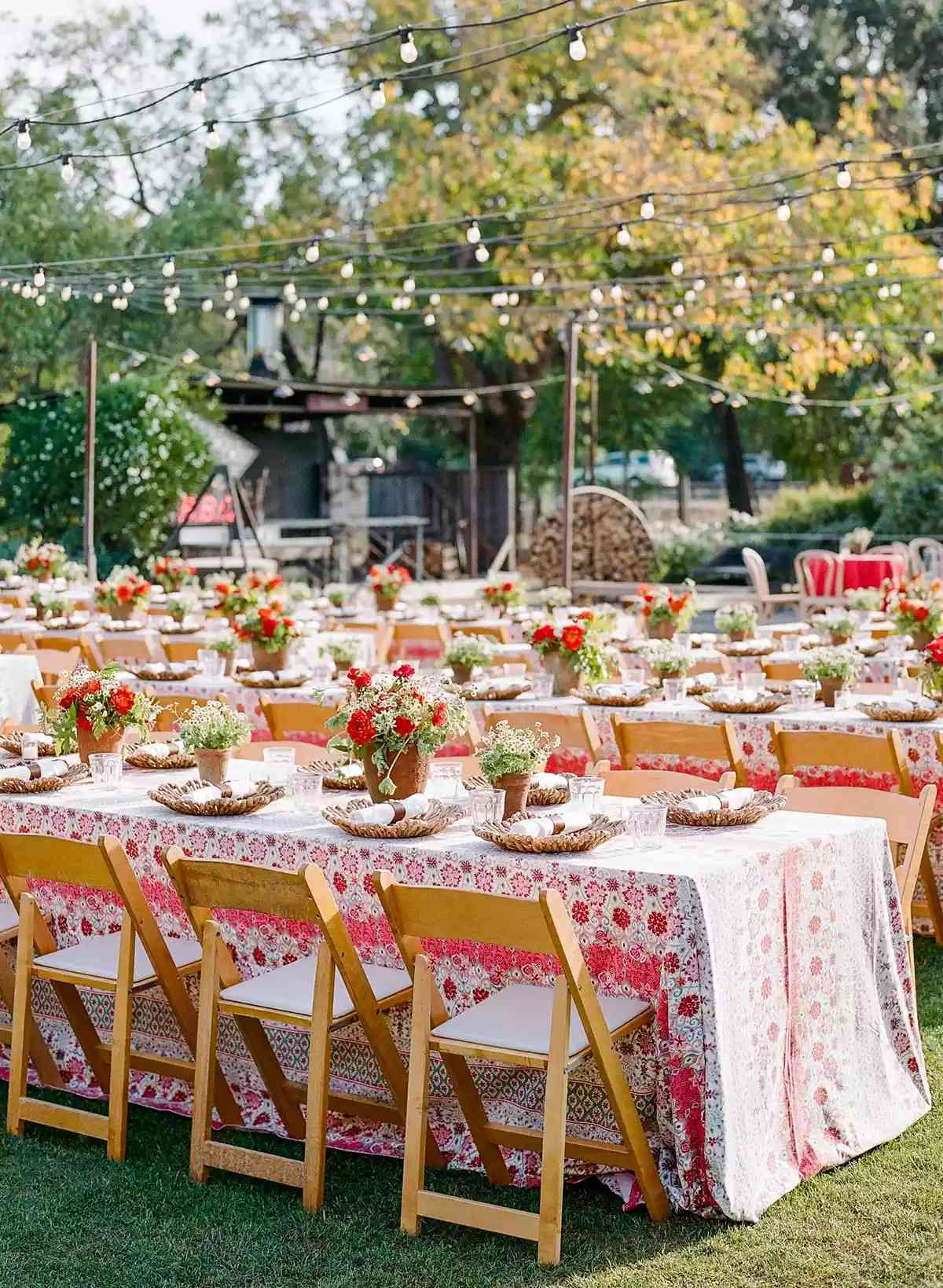 wedding reception with colorful tableclothes