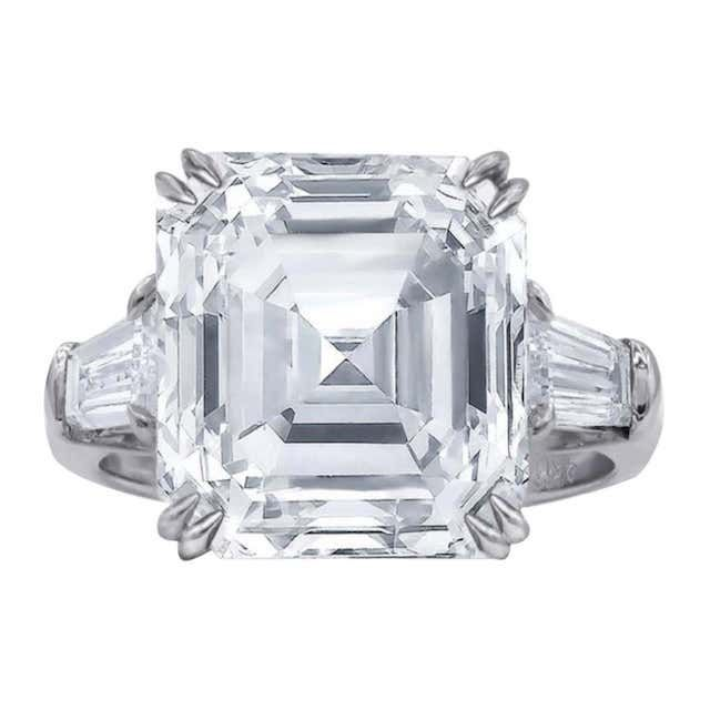 1st Dibs Asscher Cut Diamond Platinum Ring
